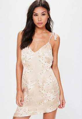 Missguided Nude Tie Strappy Printed Shift Dress
