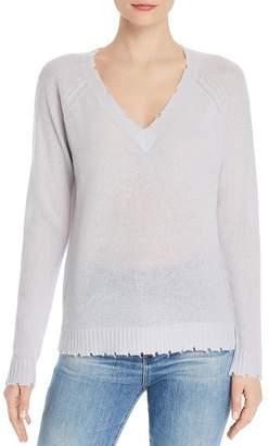 65717a05e092b Minnie Rose Distressed V-Neck Cashmere Sweater