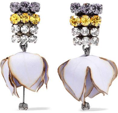 Marni Gunmetal-tone, Poplin And Crystal Clip Earrings