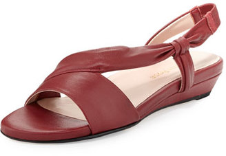 Taryn Rose Ion Leather Demi-Wedge Sandal, Red $235 thestylecure.com