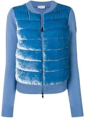 Moncler contrast panel feather down cardi-coat