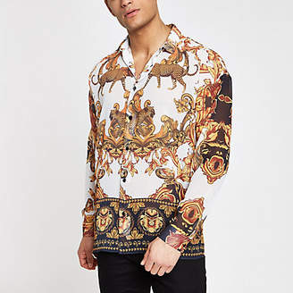 River Island Mens Jaded London White leopard baroque shirt