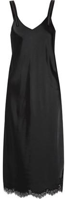 Helmut Lang - Lace-trimmed Satin Midi Dress - Black $620 thestylecure.com