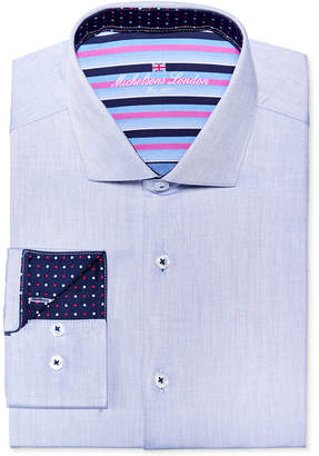 Michelsons of London Men's Slim-Fit Blue Twill Solid Dress Shirt