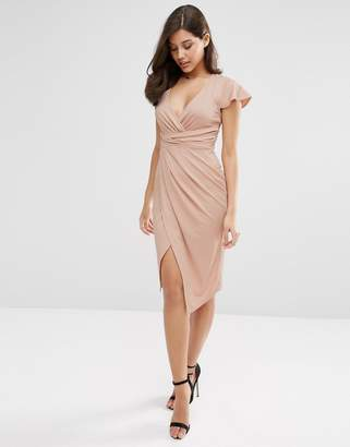 Asos DESIGN Flutter Sleeve Wrap Front Midi Dress