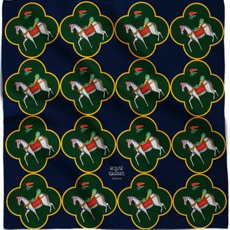 House of Gharats - Kalighat Horse Silk Pocket Square Collection Blue and Green