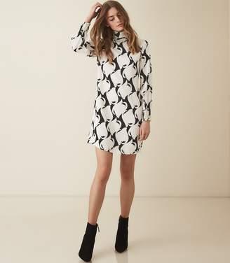 acfbe0be3f Reiss AZZURA SWIRL PRINTED SHIFT DRESS Black white