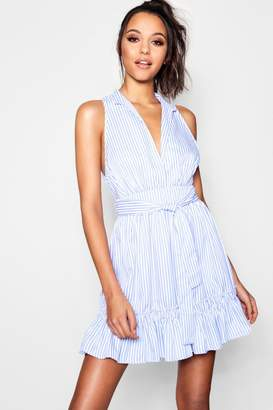 boohoo Ruffle Detail Tie Waist Stripe Shirt Dress