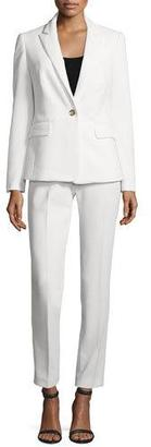 Albert Nipon Two-Piece Slim-Fit Pique Pant Suit, Ivory $375 thestylecure.com