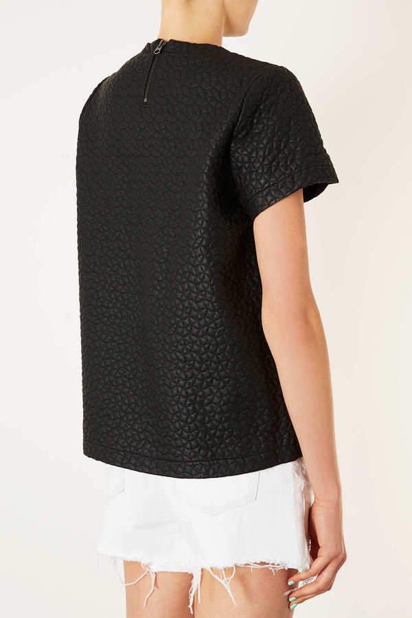 Topshop Petite Leather Look Quilted Tee