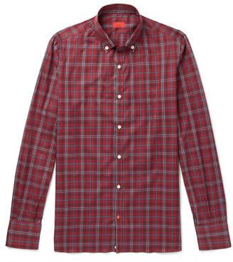 Isaia Button-Down Collar Checked Cotton-Twill Shirt