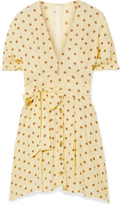 Faithfull The Brand Vanelli Tie-detailed Polka-dot Crepe Mini Dress - Pastel yellow