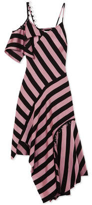 Marques Almeida Marques' Almeida - Asymmetric Embellished Striped Satin-twill Midi Dress - Pink