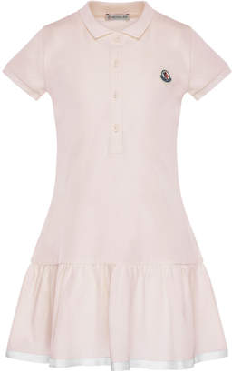 Moncler Short-Sleeve Polo Dress w/ Grosgrain Hem, Size 8-14