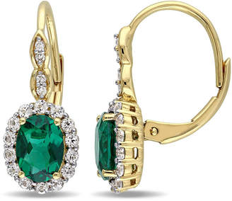 FINE JEWELRY Diamond Accent Lab Created Emerald 14K Gold Drop Earrings
