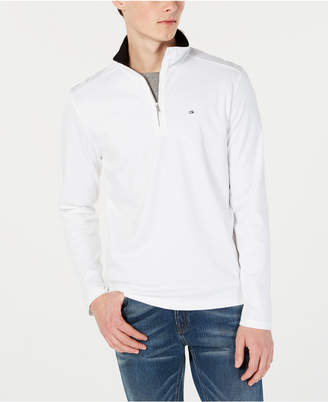 Calvin Klein Men Solid Liquid Touch Quarter-Zip Sweater