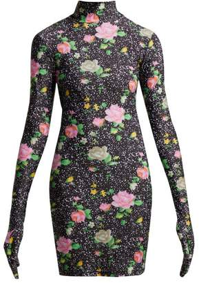 Floral Print Glove Sleeved Jersey Mini Dress - Womens - Black Multi
