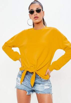 Missguided Yellow Knot Hem Long Sleeve Sweatshirt