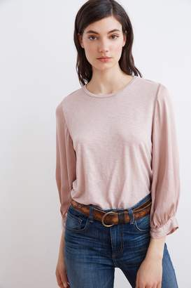 Velvet by Graham & Spencer DAY LUX SLUB CONTRAST PUFF SLEEVE TEE
