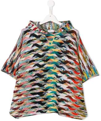 Missoni Kids hooded zigzag poncho