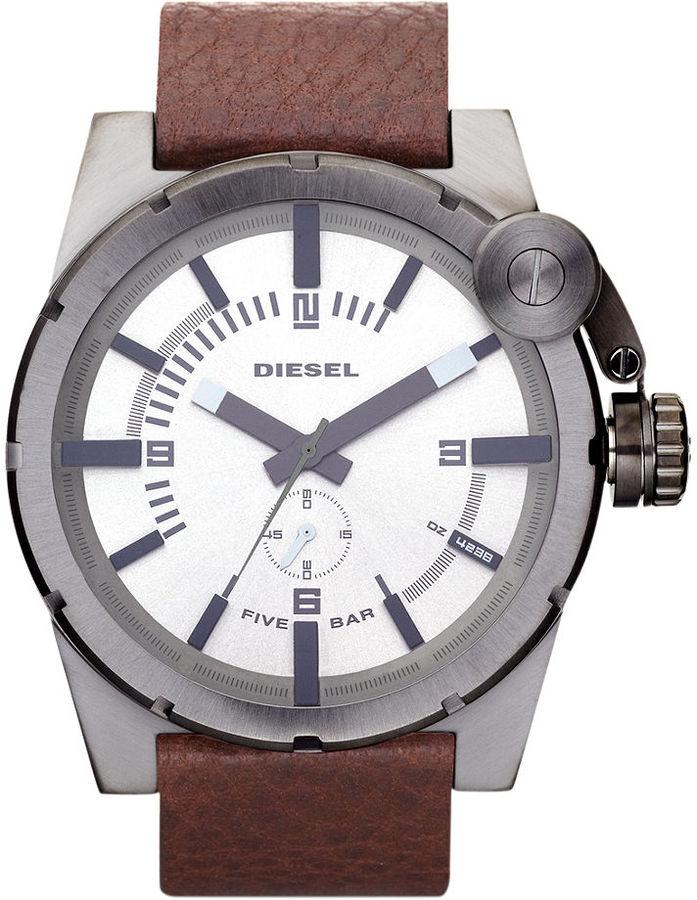 Diesel Watch, Brown Leather Strap 56x42mm DZ4238