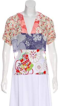 Cacharel Sheer-Paneled Floral Top
