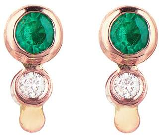 Celine Daoust Emerald Diamond Stud Earrings