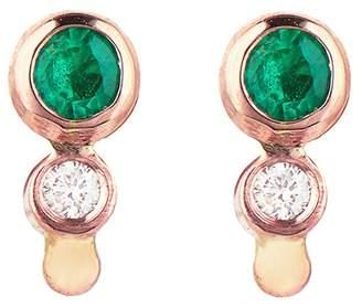 Celine Daoust Emerald Diamond Stud Earrings