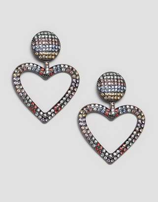Asos DESIGN earrings with rainbow crystal heart
