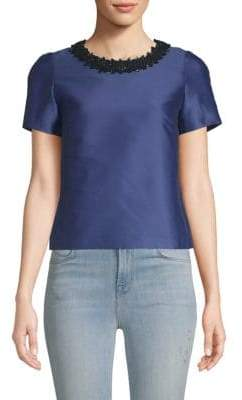 Max Mara Embroidered Neck Short-Sleeve Top