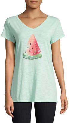 ST. JOHN'S BAY Short Sleeve V Neck Animal T-Shirt-Womens