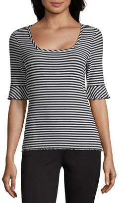 A.N.A Short Sleeve Square Neck Pattern T-Shirt-Womens