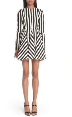 Valentino Stripe Crepe Dress