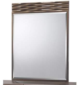 Global Furniture USA NORTH-138-MR Mirror with Drawer Dresser, Zebra Wood & Gold Line - 44 x 1 x 36 inch