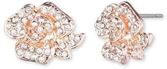Anne Klein Flower Stud Light Rose Gold and Crystal Pierced Earrings