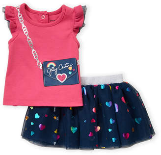 Juicy Couture Infant Girls) Two-Piece Graphic Tee & Foil Skirt Set