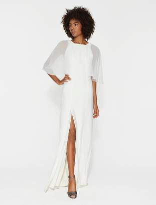 Halston Sheer Flowy Sleeve Crepe Gown