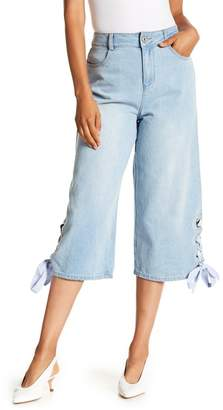 ENGLISH FACTORY Cropped Side Lace-Up Jeans