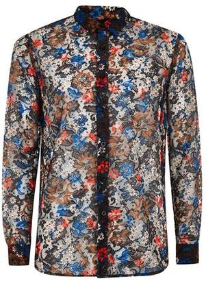 Topman Mens Blue Floral Lace Long Sleeve Shirt