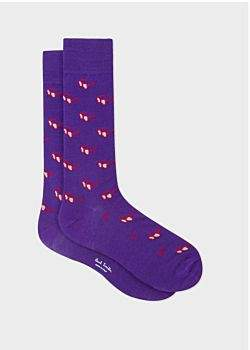 Paul Smith Men's Violet Sunglasses Jacquard Motif Socks