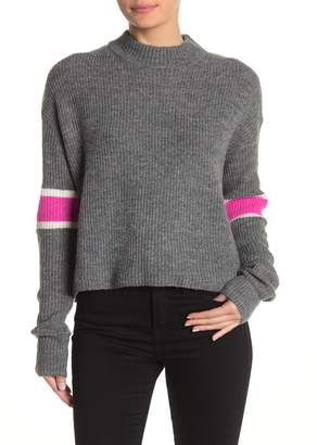 John & Jenn Varsity Stripe Mock Neck Pullover Sweater