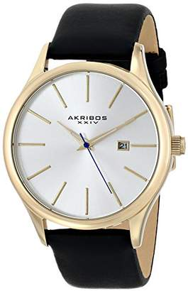 "Akribos XXIV Men's AK618""Essential"" Stainless Steel Watch with Leather Strap ()"