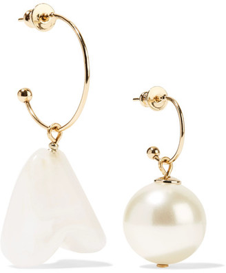 Simone Rocha - Gold-tone Faux Pearl Earrings - Cream $305 thestylecure.com