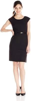 Jones New York Women's Brooke Solid Short Cap Sleeve Dress