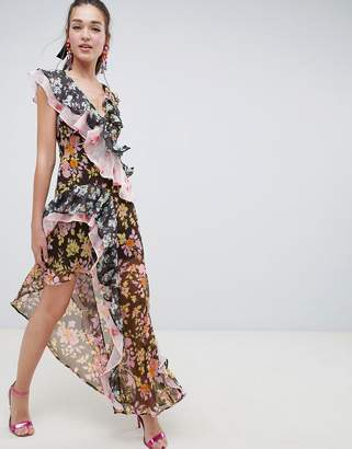 Asos Design DESIGN mixed floral print ruffle asymmetric maxi dress