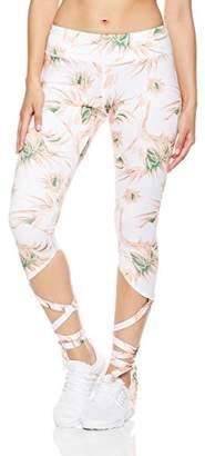 Mint Lilac Women's Workout Printed Yoga Leggings Athletic Mesh Pants with Ballet Ribbon Peach