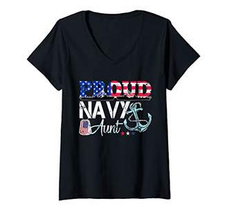 Womens Proud Navy Aunt Patriotic Sailor USA Flag Military Gift V-Neck T-Shirt