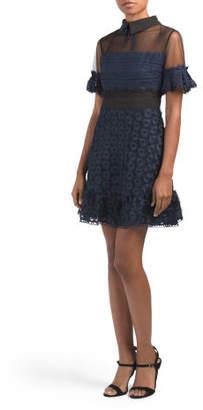 Textured Dress With Peter Pan Collar