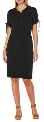 Rafaella Ruched-Sleeve Drawstring Dress