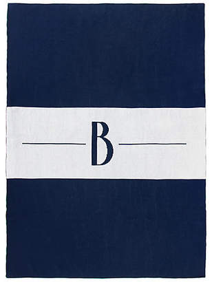 One Kings Lane Center Stripe Monogram Cotton Throw - Navy